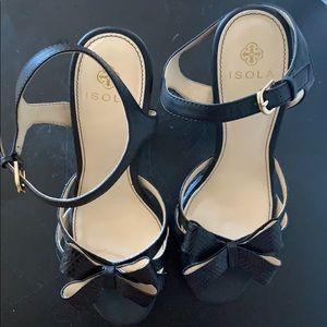 Isola Platform Ankle Strap Bow Heel Sandals